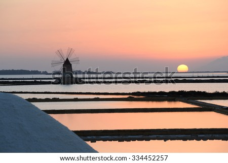 Sunset Windmills in Saline Stagnone of Marsala, Trapani