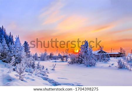 Sunset winter snow rural landscape. Winter sunset snow nature view. Winter snow rural sunset scene. Sunset winter snow scene
