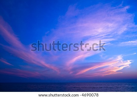Sunset with beautiful clouds and sea