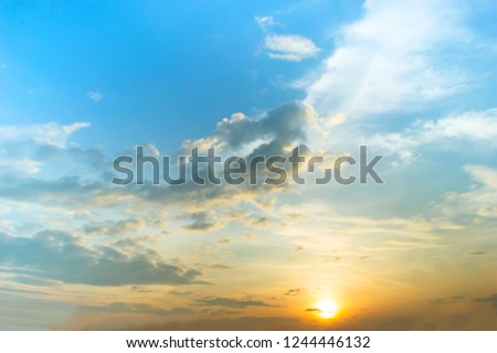 sunset with blue sky and cloud #1244446132