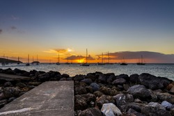 Sunset with boat at