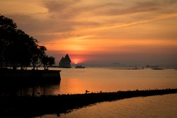 sunset with  boat, sunset at Sriracha Chonburi Thailand,tide