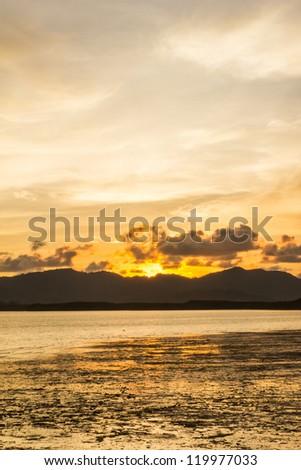 Sunset with low tide at Yamu bay, Phuket, Thailand