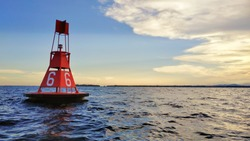 Sunset with Ocean Buoy. Great Image of Sea Background