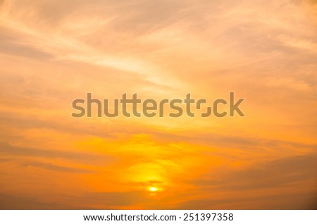 sunset with orange sky
