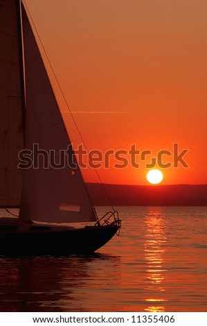 sunset with sail