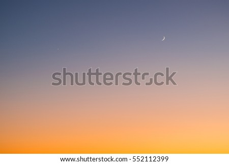sunset with sickle moon #552112399