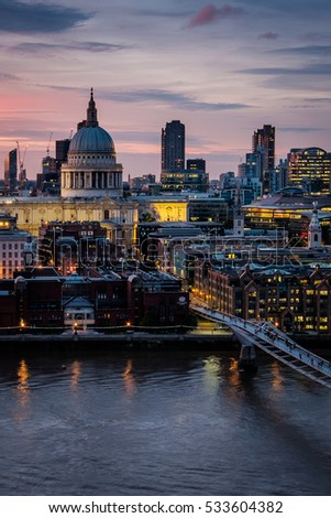 Sunset with St Paul's Cathedral and Millennium Bridge, London, United Kingdom