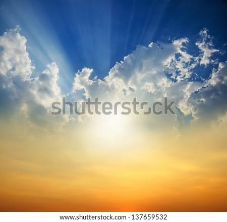 Sunset with sun rays #137659532