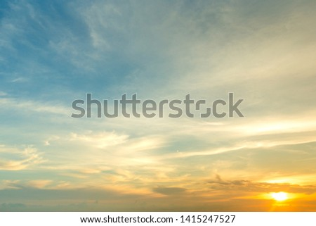 Sunset with sun rays, sky with clouds and sun. #1415247527
