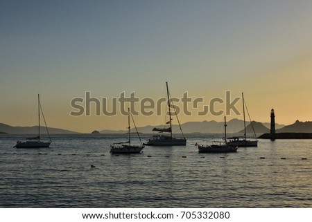 Sunset with yachts