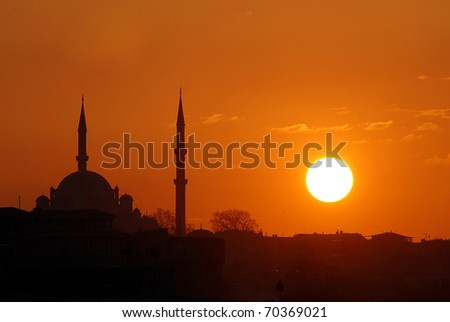 Sunsets in Istanbul - stock photo