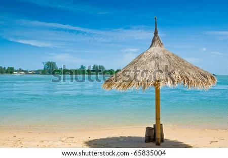 sunshade and the beach at Phuket, Thailand