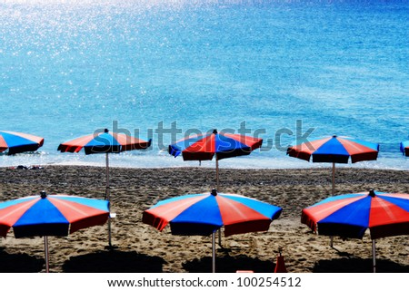 sunshade at the beach on a very sunny day