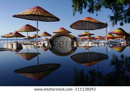 Sunshade beside a sea