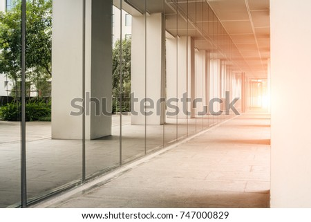 sunshine and corridor of modern office building exterior #747000829