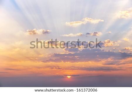 sunshine beam and cloud before