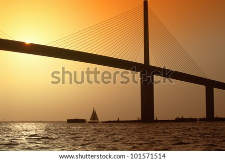 Sunshine Bridge at Tampa Bay and St. Petersburg, Florida at sunset