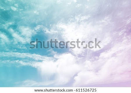 Sunshine clouds sky during morning background. Blue,white pastel heaven,soft focus lens flare sunlight. Abstract blurred cyan gradient of peaceful nature. Open view out windows beautiful summer spring - Shutterstock ID 611526725