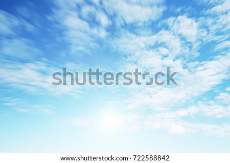 Sunshine clouds sky during morning background. Blue,white pastel heaven,soft focus lens flare sunlight. Abstract blurred cyan gradient of peaceful nature. Open view out windows beautiful summer spring #722588842