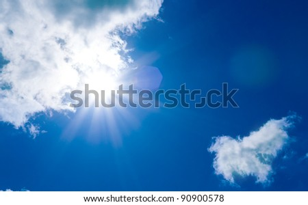 Sunshine in blue sky