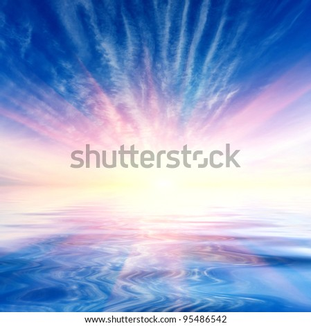 sunshine in sky over water surface