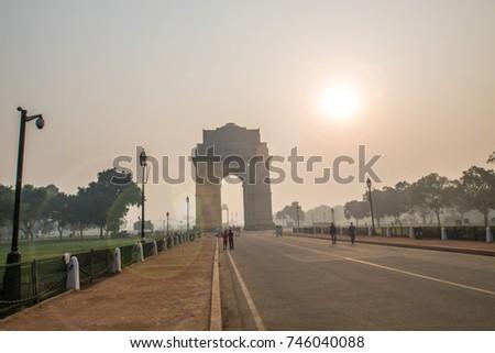 Sunshine over India Gate, New Delhi, India  #746040088