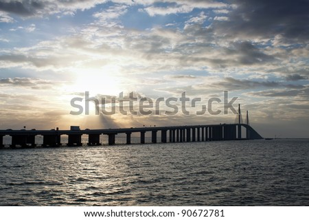 Sunshine Skyway Bridge spanning Tampa Bay and connecting St. Petersburg and Terra Ceia,Florida