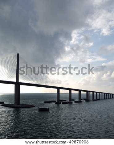 Sunshine Skyway Bridge - spanning Tampa Bay south of St. Petersburg, FL - as storm clouds clear - Cable Stay type bridge