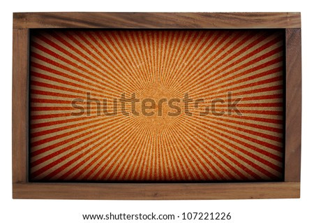 Sunshine wood frame isolated on white background.