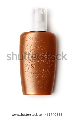 suntan cream, sunblock lotion on white background