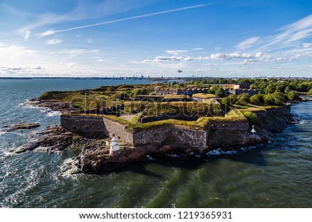 Suomenlinna is the fortress outside Helsinki, here on a summer day with the city seen in the background, Finland