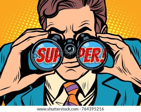 super Businessman looking through binoculars. Pop art retro  illustration