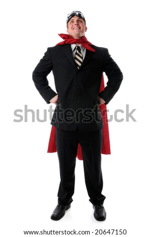 Super businessman with cape and goggles smiling confidently