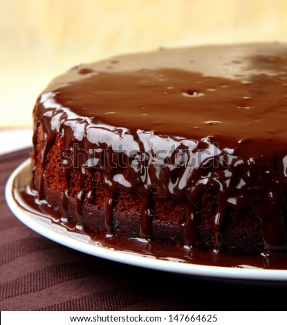 super chocolate cake with chocolate sauce