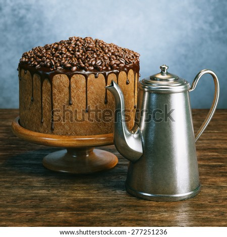 Super chocolate vegan cake with coffee beans on the top and tea kettle on wooden surface behind grey wall background