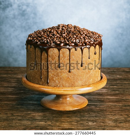 Super chocolate vegan cake with coffee beans on the top on wooden surface behind grey wall background