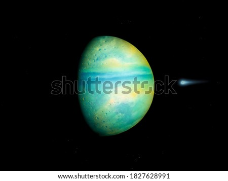 Photo of  super-earth planet, realistic exoplanet, earth-like planet in far space, planets background 3d render