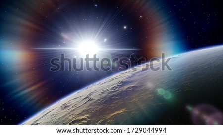 super-earth planet, realistic exoplanet, planet suitable for colonization, earth-like planet in far space 3d render