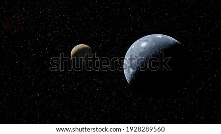 super-earth planet, realistic exoplanet, planet suitable for colonization, earth-like planet in far space, planets background 3d render