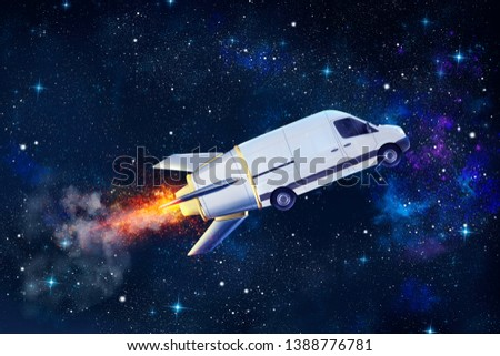 Super fast delivery of package service with flying van like a rocket