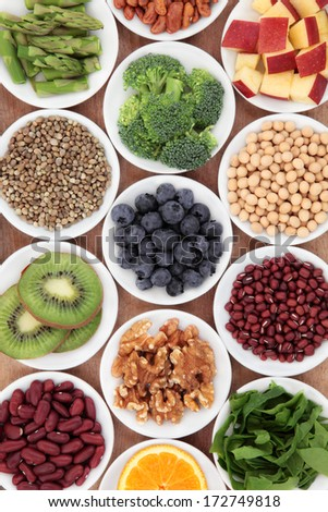 Super food health food selection in white bowls.