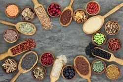 Super food with legumes, grains, seeds, berry fruit, cereals, medicinal herbs and spices, pollen grain & nutritional supplement powders,  Foods high in antioxidants, anthocyanins, minerals & vitamins.