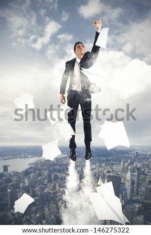 Super Hero Businessman Flying In The Sky