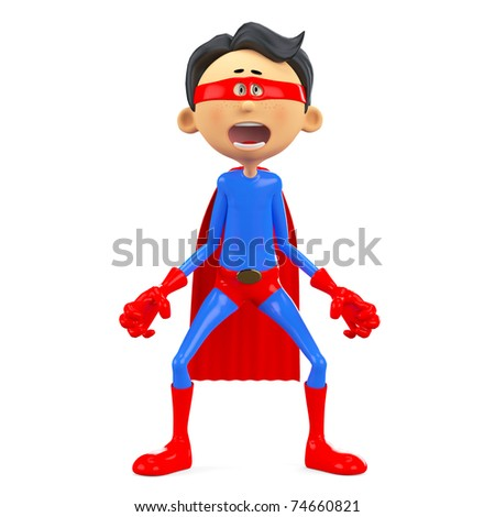 super hero cartoon afraid