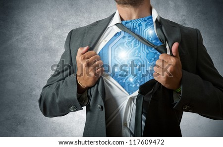 Super hero with computer circuit