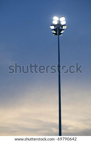 super highway lighting column at night