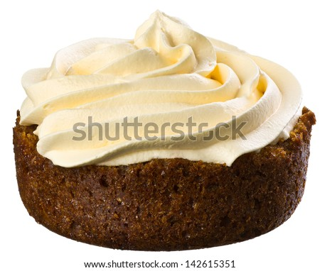 Super Large Vanilla Cupcake Isolated on White