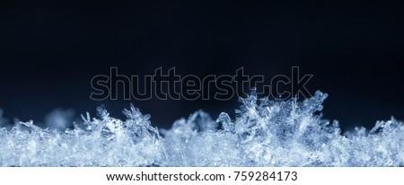 Super macro horizontal composite panorama of snow-flakes in snowdrift #759284173