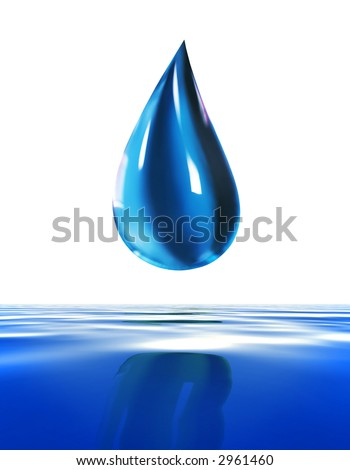 Super Macro of a blue water drop dripping. Ecosystem concept